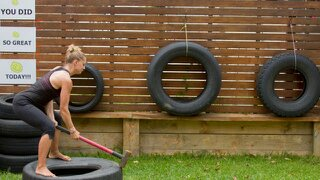 strong fit powerful woman mum mother mallet and tyre exercise exercises