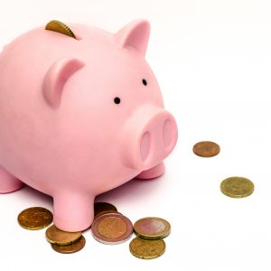 pink piggy bank with coins for business coaching financial planning